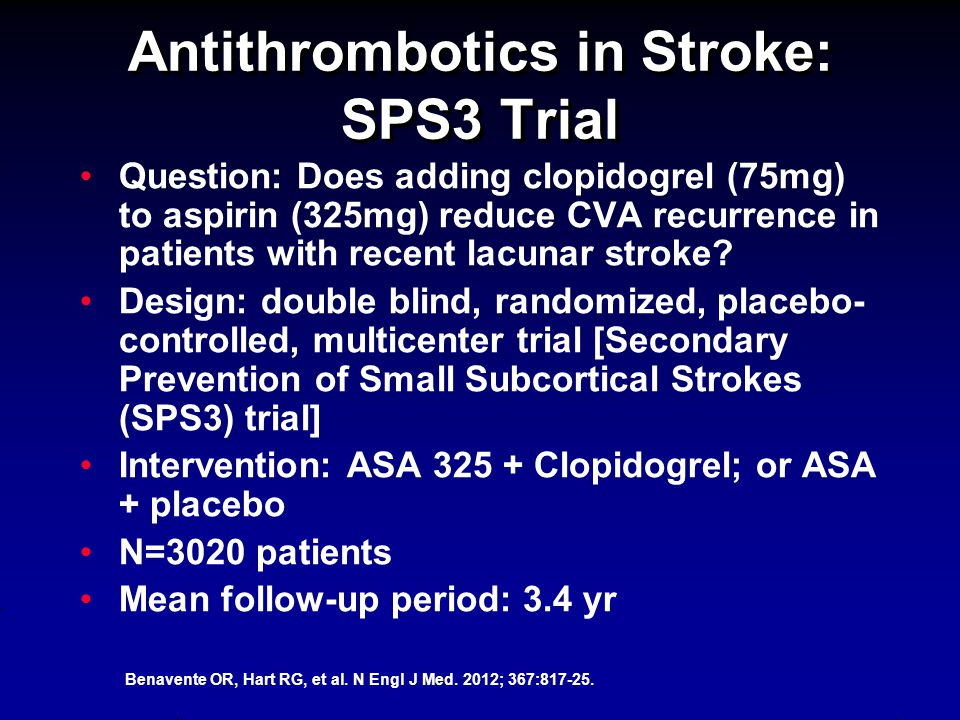Antithrombotics in Stroke: SPS3 Trial Question: Does adding clopidogrel (75mg) to aspirin (325mg) reduce CVA recurrence in patients with recent lacunar stroke.
