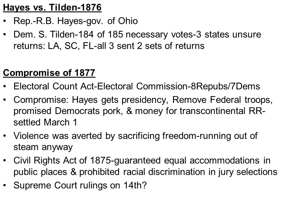 Hayes vs.Tilden-1876 Rep.-R.B. Hayes-gov. of Ohio Dem.