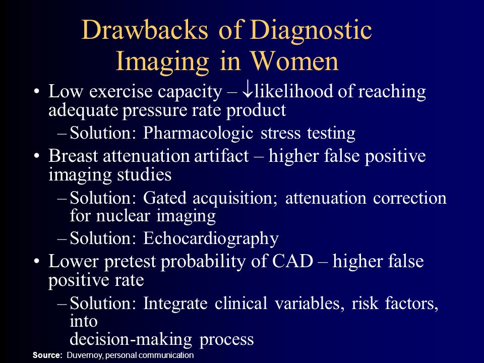 Drawbacks of Diagnostic Imaging in Women Low exercise capacity –  likelihood of reaching adequate pressure rate product –Solution: Pharmacologic stress testing Breast attenuation artifact – higher false positive imaging studies –Solution: Gated acquisition; attenuation correction for nuclear imaging –Solution: Echocardiography Lower pretest probability of CAD – higher false positive rate –Solution: Integrate clinical variables, risk factors, into decision-making process Source: Duvernoy, personal communication