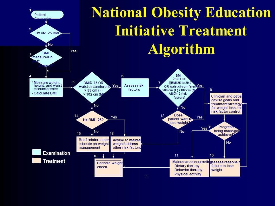 National Obesity Education Initiative Treatment Algorithm Patient Encounter Hx of 25 BMI.