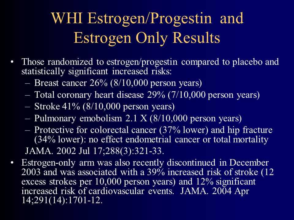 WHI Estrogen/Progestin and Estrogen Only Results Those randomized to estrogen/progestin compared to placebo and statistically significant increased risks: –Breast cancer 26% (8/10,000 person years) –Total coronary heart disease 29% (7/10,000 person years) –Stroke 41% (8/10,000 person years) –Pulmonary emobolism 2.1 X (8/10,000 person years) –Protective for colorectal cancer (37% lower) and hip fracture (34% lower): no effect endometrial cancer or total mortality JAMA.