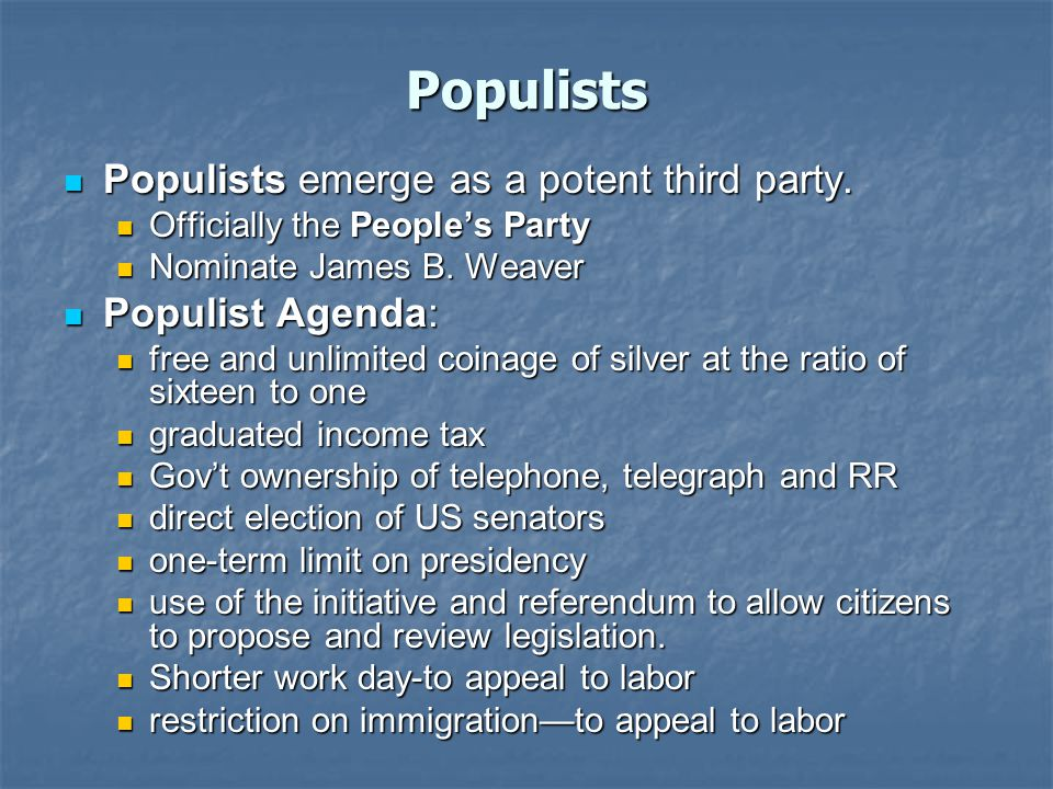 Populists Populists emerge as a potent third party.