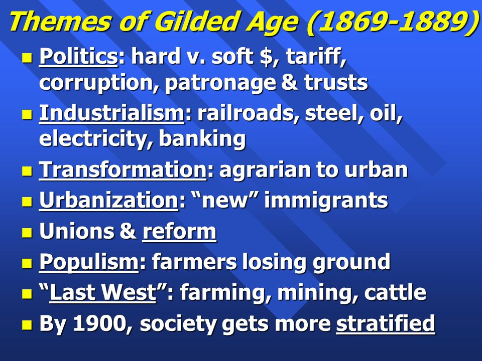 Themes of Gilded Age (1869-1889) n Politics: hard v.