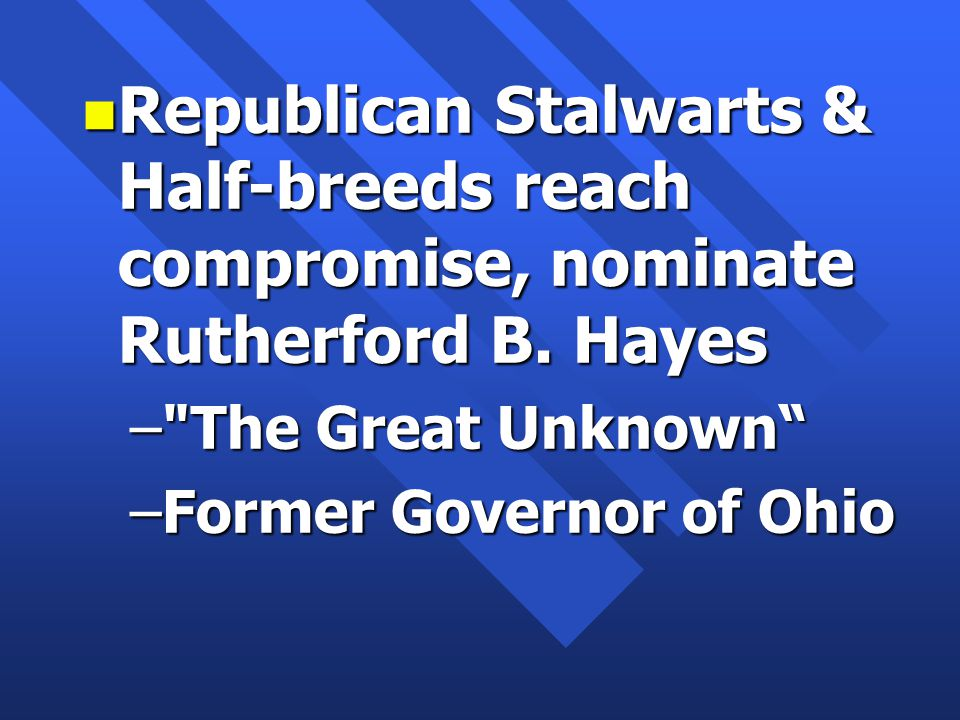 n Republican Stalwarts & Half-breeds reach compromise, nominate Rutherford B.