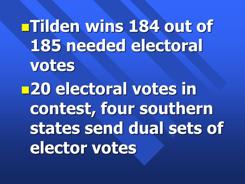 n Tilden wins 184 out of 185 needed electoral votes n 20 electoral votes in contest, four southern states send dual sets of elector votes