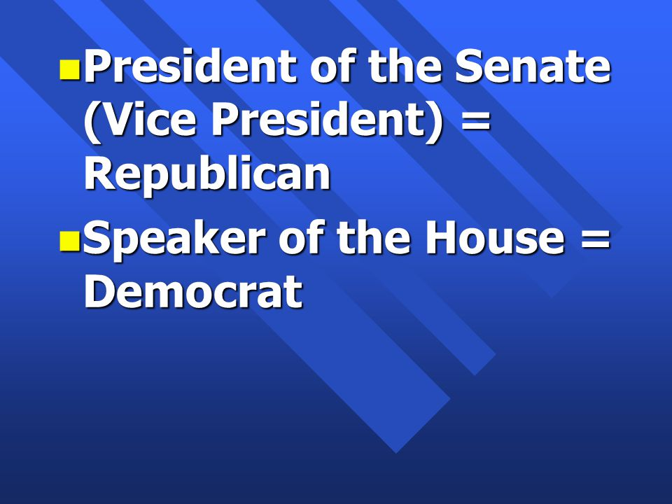 n President of the Senate (Vice President) = Republican n Speaker of the House = Democrat