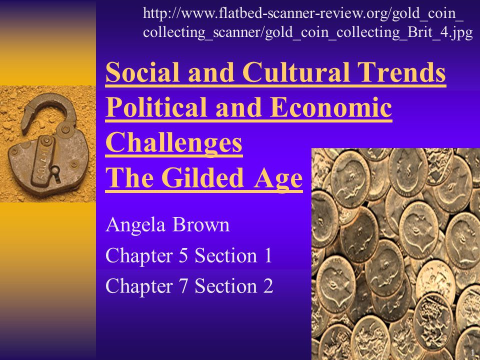 Social and Cultural Trends Political and Economic Challenges The Gilded Age Angela Brown Chapter 5 Section 1 Chapter 7 Section 2 http://www.flatbed-scanner-review.org/gold_coin_ collecting_scanner/gold_coin_collecting_Brit_4.jpg 1
