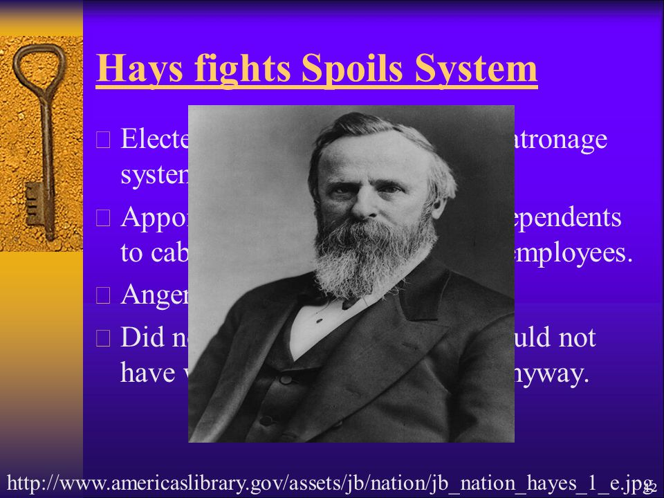 Hays fights Spoils System  Elected in 1877, refused to use patronage system.
