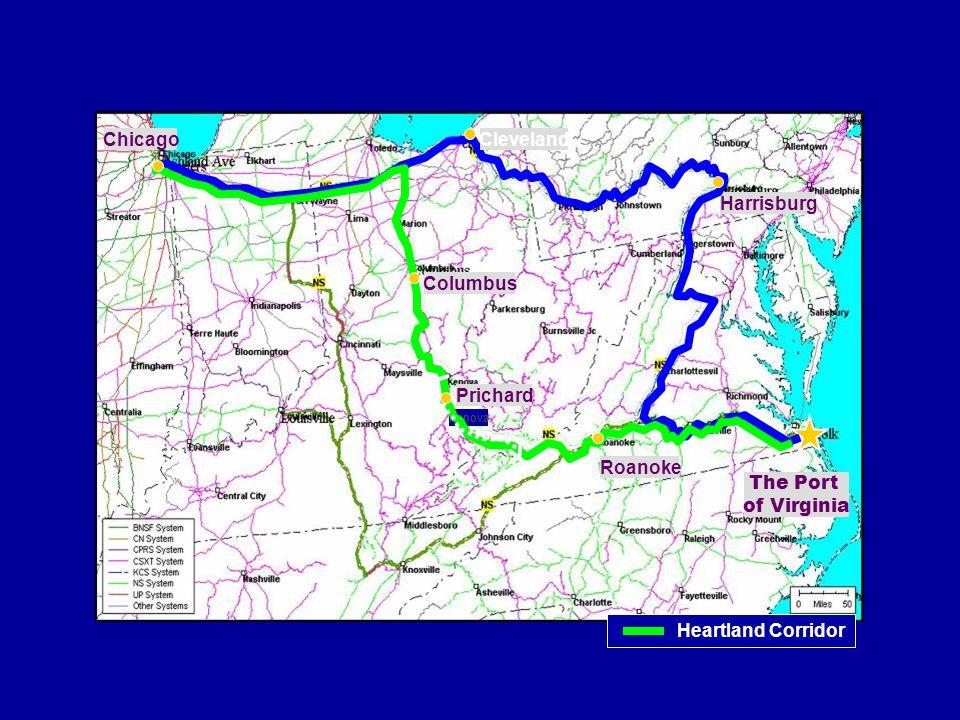 Columbus The Port of Virginia Harrisburg Kenova Prichard Roanoke ChicagoCleveland Heartland Corridor