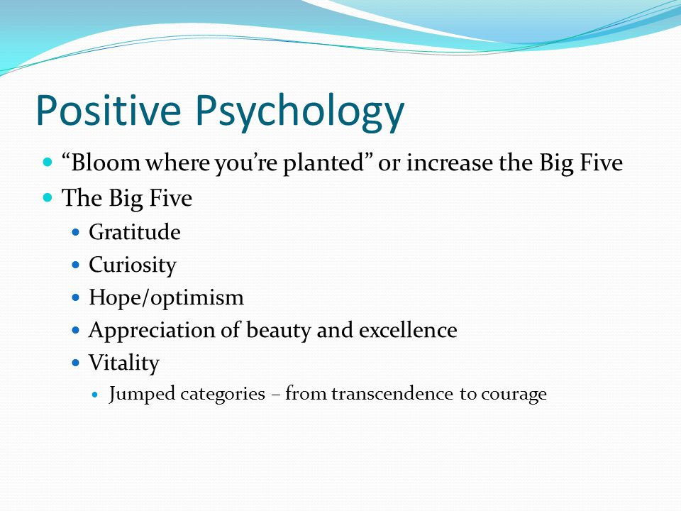 Positive Psychology Bloom where you're planted or increase the Big Five The Big Five Gratitude Curiosity Hope/optimism Appreciation of beauty and excellence Vitality Jumped categories – from transcendence to courage
