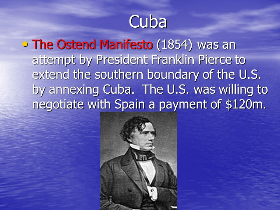 Cuba In 1823, John Quincy Adams was the Secretary of State under President Monroe. He compared Cuba to a ripe apple. A storm he said, might tear that