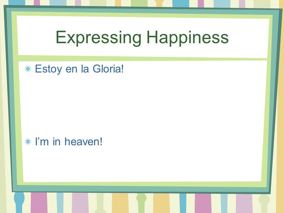 Expressing Happiness Estoy en la Gloria! I'm in heaven!