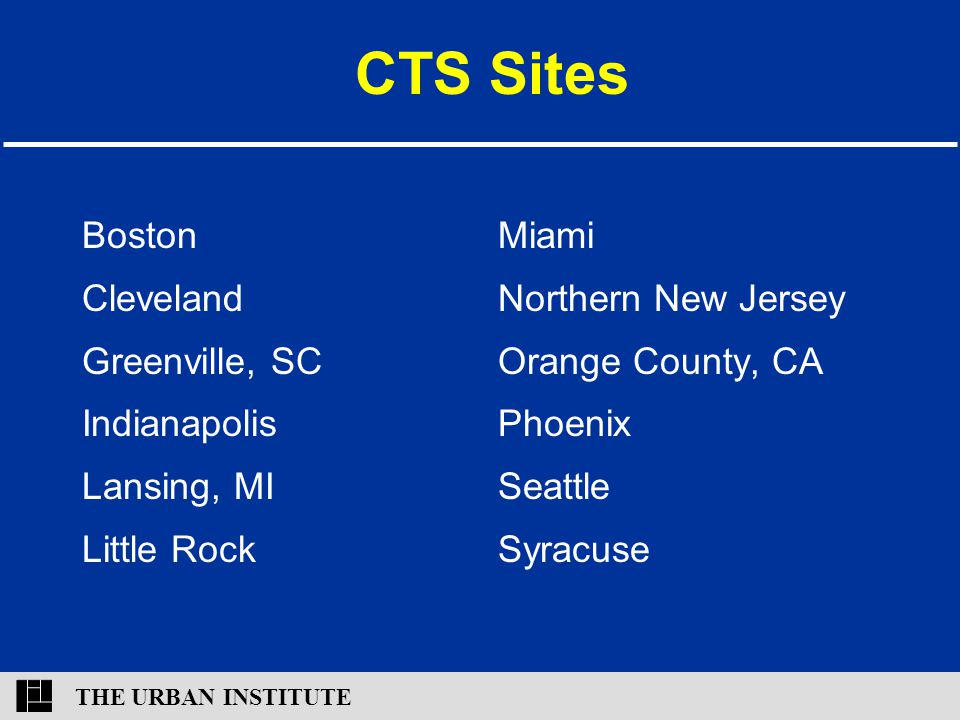 THE URBAN INSTITUTE CTS Sites Boston Cleveland Greenville, SC Indianapolis Lansing, MI Little Rock Miami Northern New Jersey Orange County, CA Phoenix
