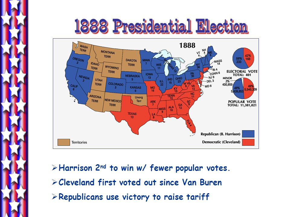 1888 Presidential Election  Harrison 2 nd to win w/ fewer popular votes.