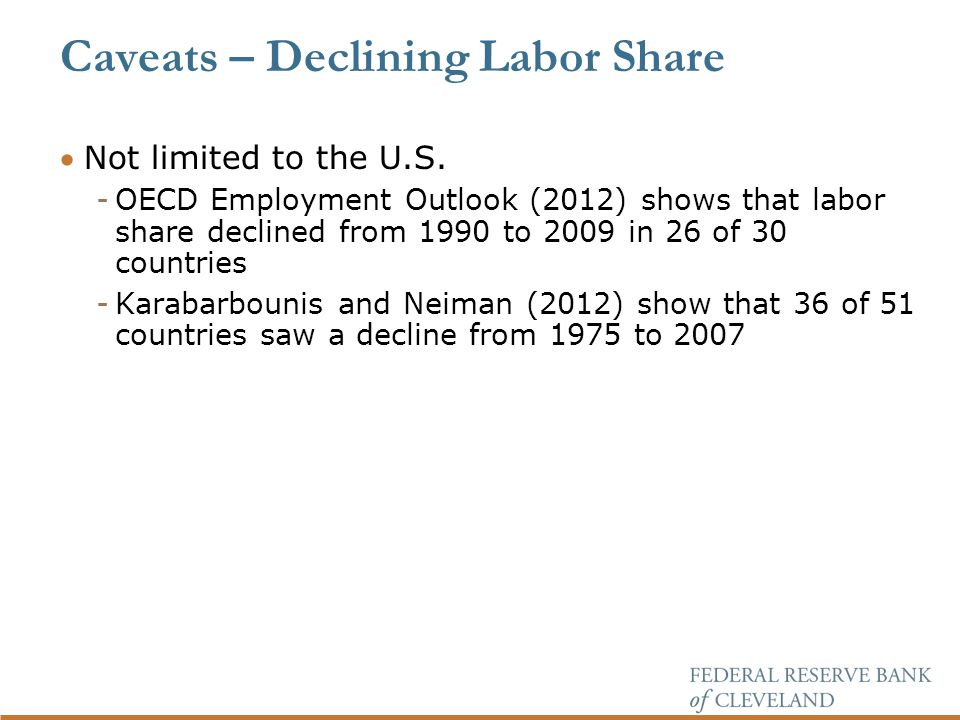 Caveats – Declining Labor Share Not limited to the U.S.
