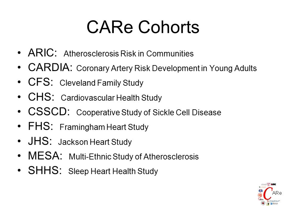 CARe Cohorts ARIC: Atherosclerosis Risk in Communities CARDIA: Coronary Artery Risk Development in Young Adults CFS: Cleveland Family Study CHS: Cardiovascular Health Study CSSCD: Cooperative Study of Sickle Cell Disease FHS: Framingham Heart Study JHS: Jackson Heart Study MESA: Multi-Ethnic Study of Atherosclerosis SHHS: Sleep Heart Health Study