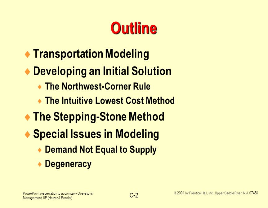 PowerPoint presentation to accompany Operations Management, 6E (Heizer & Render) © 2001 by Prentice Hall, Inc., Upper Saddle River, N.J. 07458 C-2 Out
