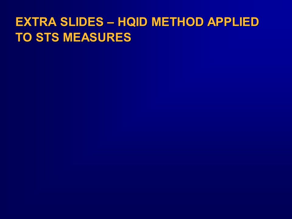 EXTRA SLIDES – HQID METHOD APPLIED TO STS MEASURES