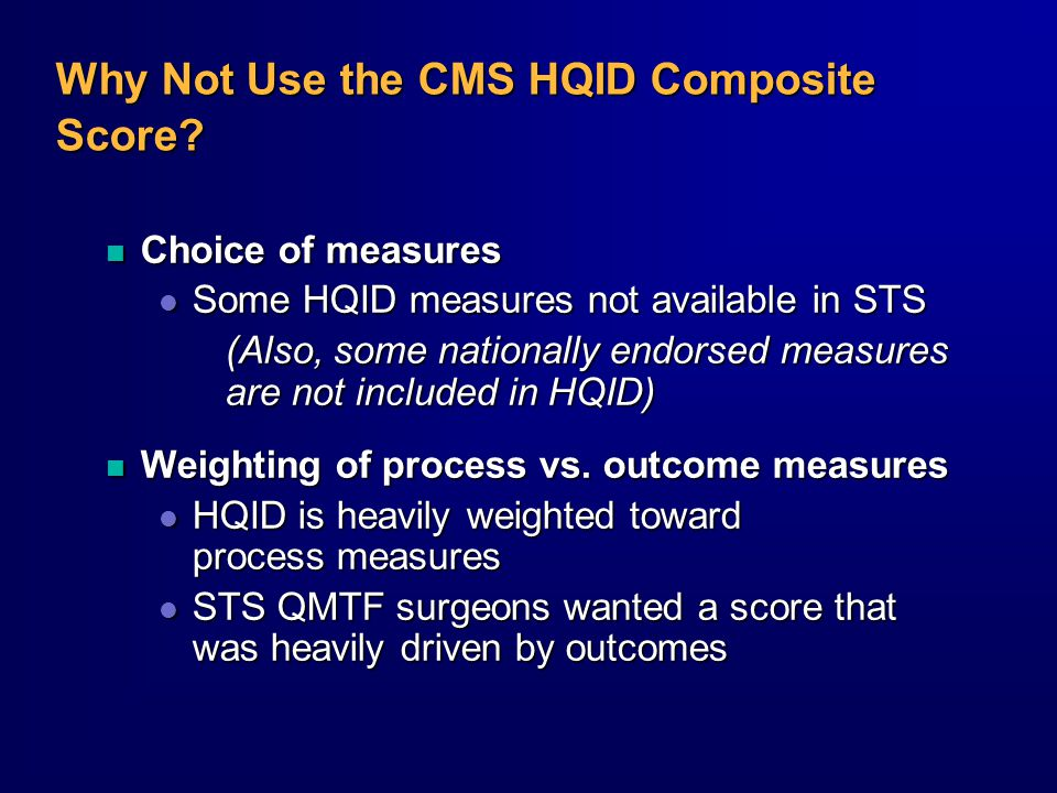 Why Not Use the CMS HQID Composite Score.