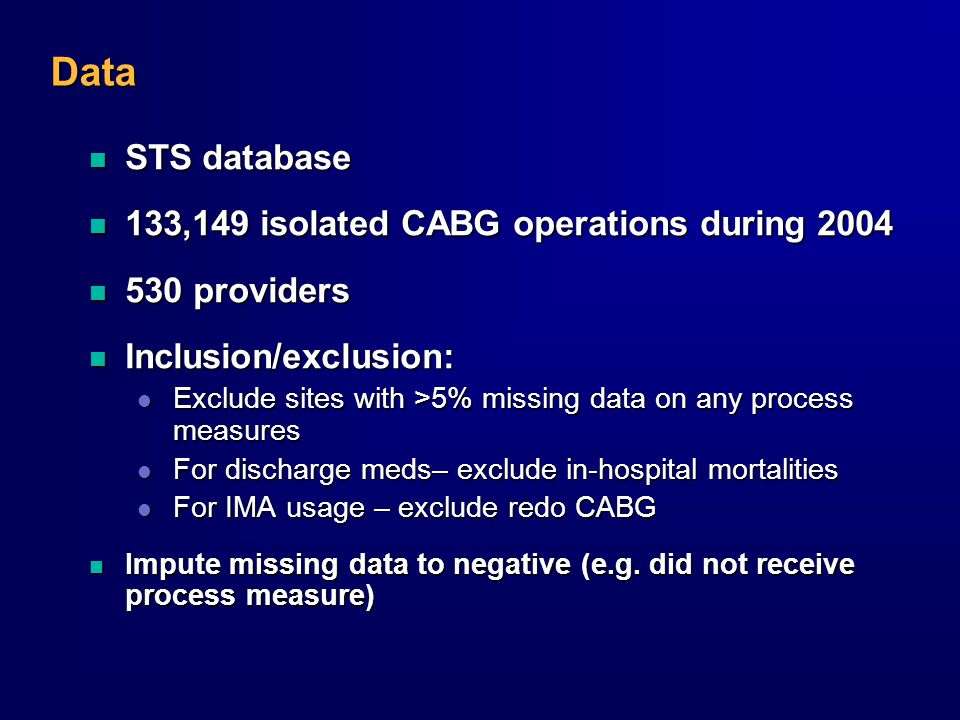 Data n STS database n 133,149 isolated CABG operations during 2004 n 530 providers n Inclusion/exclusion: l Exclude sites with >5% missing data on any process measures l For discharge meds– exclude in-hospital mortalities l For IMA usage – exclude redo CABG n Impute missing data to negative (e.g.