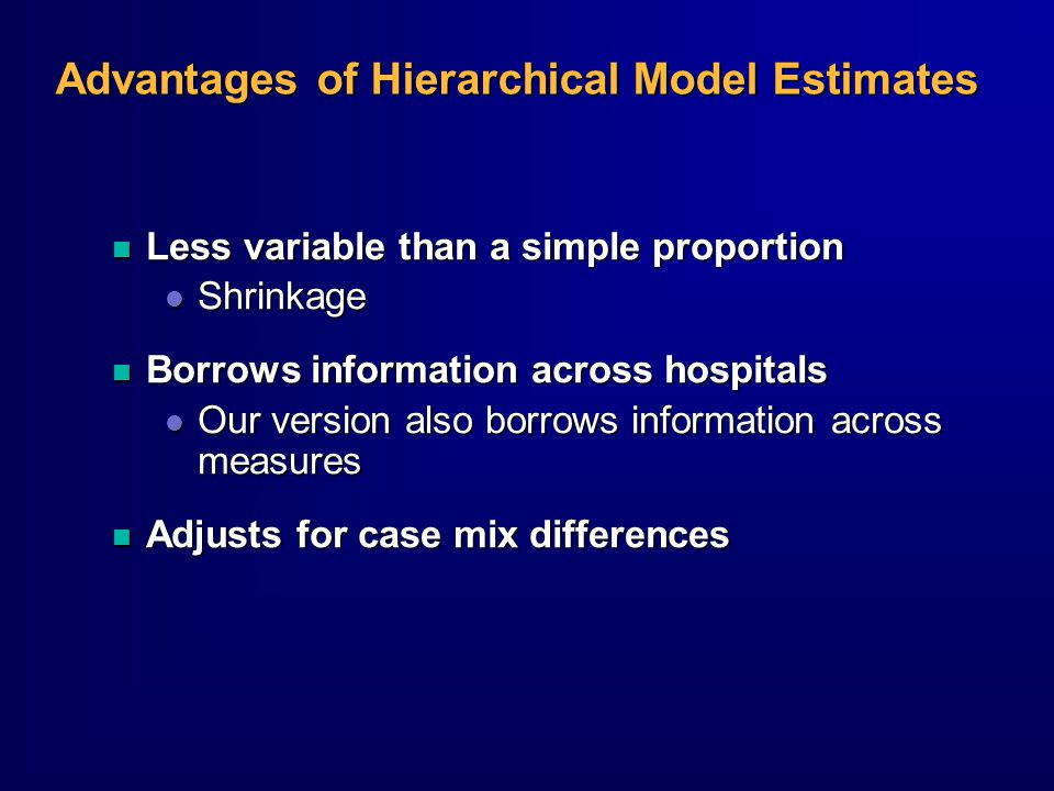 Advantages of Hierarchical Model Estimates n Less variable than a simple proportion l Shrinkage n Borrows information across hospitals l Our version also borrows information across measures n Adjusts for case mix differences