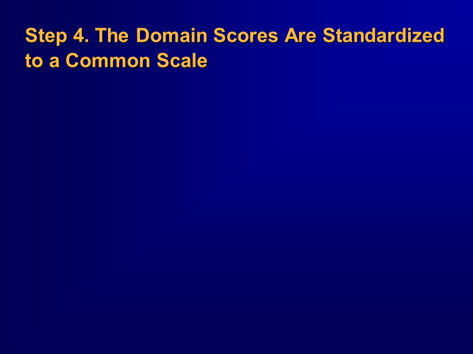 Step 4. The Domain Scores Are Standardized to a Common Scale