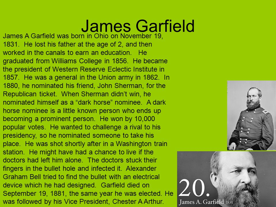 James Garfield James A Garfield was born in Ohio on November 19, 1831.