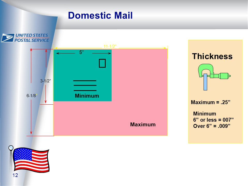 12 Domestic Mail 11-1/2 Maximum 3-1/2 6-1/8 Minimum Thickness Minimum 6 or less = 007 Over 6 =.009 Maximum =.25 5