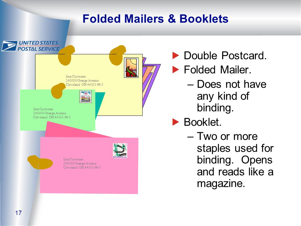 17 Ima Customer 240000 Orange Avenue Cleveland OH 44101-96-3 Folded Mailers & Booklets Double Postcard.