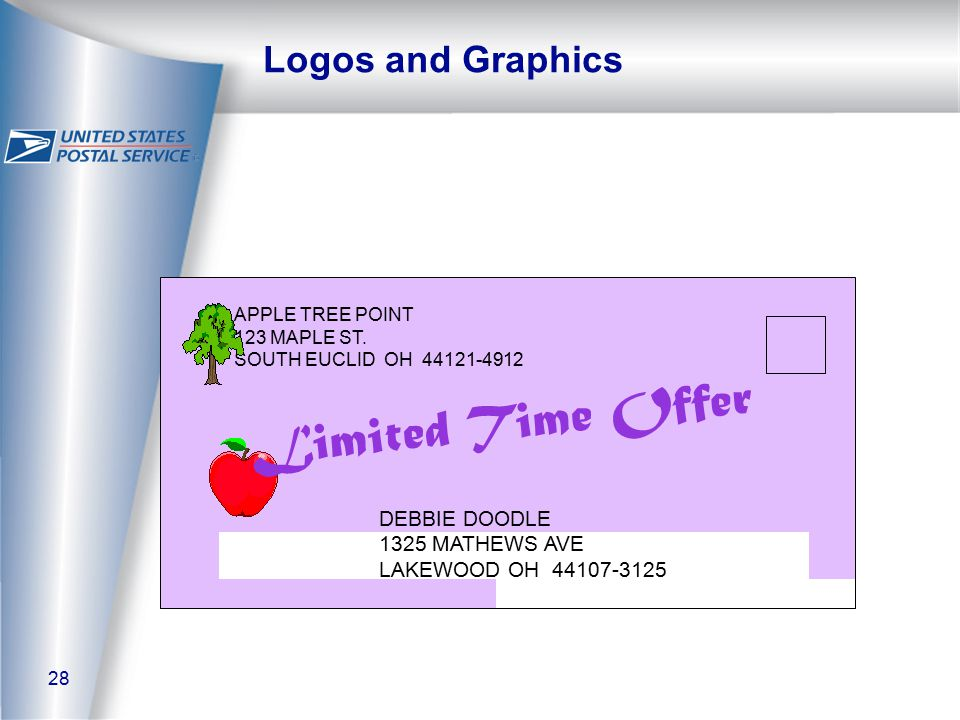 28 Logos and Graphics APPLE TREE POINT 123 MAPLE ST.