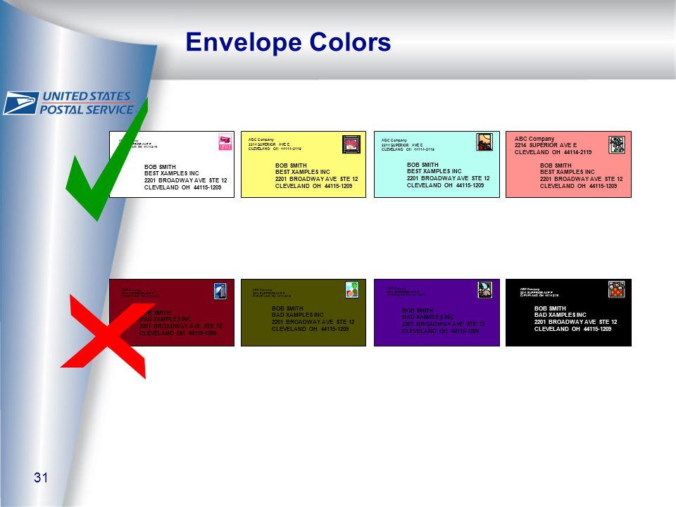 31 Envelope Colors BOB SMITH BAD XAMPLES INC 2201 BROADWAY AVE STE 12 CLEVELAND OH 44115-1209 ABC Company 2214 SUPERIOR AVE E CLEVELAND OH 44114-2119 BOB SMITH BAD XAMPLES INC 2201 BROADWAY AVE STE 12 CLEVELAND OH 44115-1209 ABC Company 2214 SUPERIOR AVE E CLEVELAND OH 44114-2119 BOB SMITH BAD XAMPLES INC 2201 BROADWAY AVE STE 12 CLEVELAND OH 44115-1209 ABC Company 2214 SUPERIOR AVE E CLEVELAND OH 44114-2119 ABC Company 2214 SUPERIOR AVE E CLEVELAND OH 44114-2119 BOB SMITH BAD XAMPLES INC 2201 BROADWAY AVE STE 12 CLEVELAND OH 44115-1209 ABC Company 2214 SUPERIOR AVE E CLEVELAND OH 44114-2119 BOB SMITH BEST XAMPLES INC 2201 BROADWAY AVE STE 12 CLEVELAND OH 44115-1209 ABC Company 2214 SUPERIOR AVE E CLEVELAND OH 44114-2119 BOB SMITH BEST XAMPLES INC 2201 BROADWAY AVE STE 12 CLEVELAND OH 44115-1209 ABC Company 2214 SUPERIOR AVE E CLEVELAND OH 44114-2119 BOB SMITH BEST XAMPLES INC 2201 BROADWAY AVE STE 12 CLEVELAND OH 44115-1209 ABC Company 2214 SUPERIOR AVE E CLEVELAND OH 44114-2119 BOB SMITH BEST XAMPLES INC 2201 BROADWAY AVE STE 12 CLEVELAND OH 44115-1209
