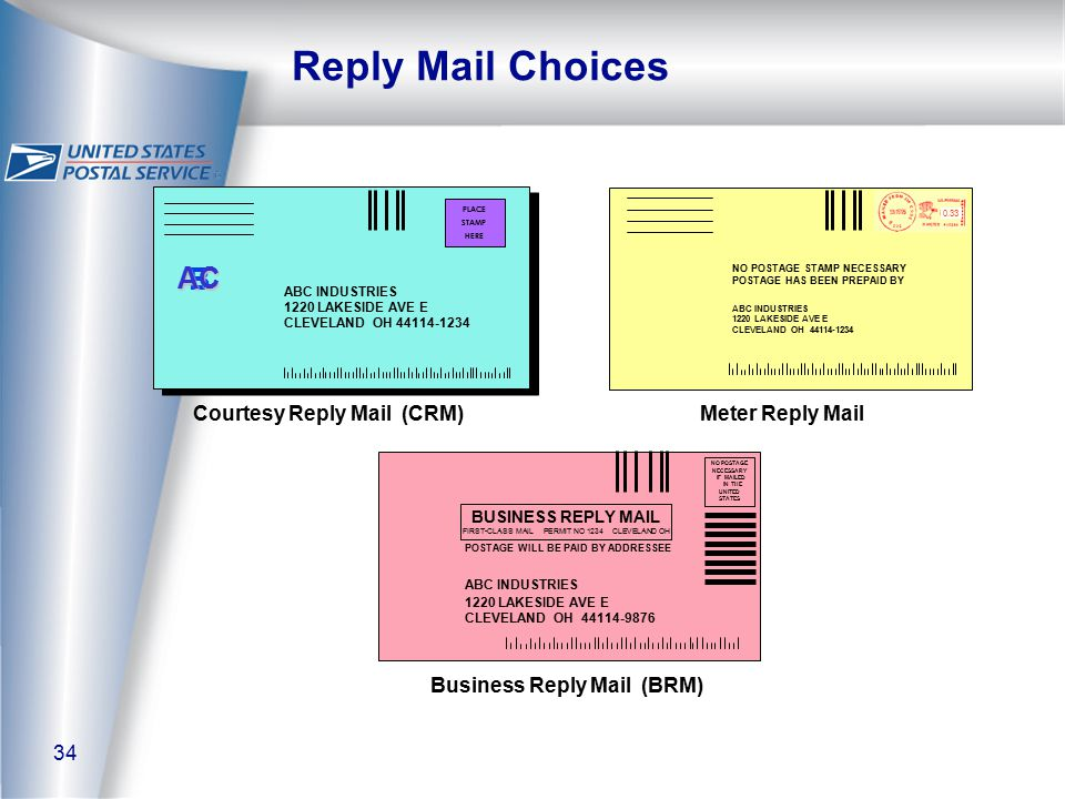 34 Reply Mail Choices Courtesy Reply Mail (CRM) Business Reply Mail (BRM) Meter Reply Mail B AC PLACE STAMP HERE ABC INDUSTRIES 1220 LAKESIDE AVE E CLEVELAND OH 44114-1234 NO POSTAGE STAMP NECESSARY POSTAGE HAS BEEN PREPAID BY ABC INDUSTRIES 1220 LAKESIDE AVE E CLEVELAND OH 44114-1234 0.33 BUSINESS REPLY MAIL FIRST-CLASS MAIL PERMIT NO 1234 CLEVELAND OH NO POSTAGE NECESSARY IF MAILED IN THE UNITED STATES POSTAGE WILL BE PAID BY ADDRESSEE ABC INDUSTRIES 1220 LAKESIDE AVE E CLEVELAND OH 44114-9876