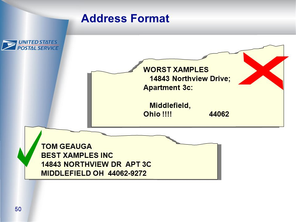 50 Address Format WORST XAMPLES 14843 Northview Drive; Apartment 3c: Middlefield, Ohio !!!.