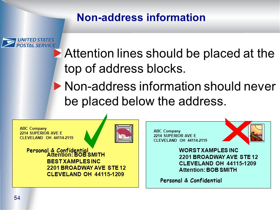 54 Non-address information Attention lines should be placed at the top of address blocks.