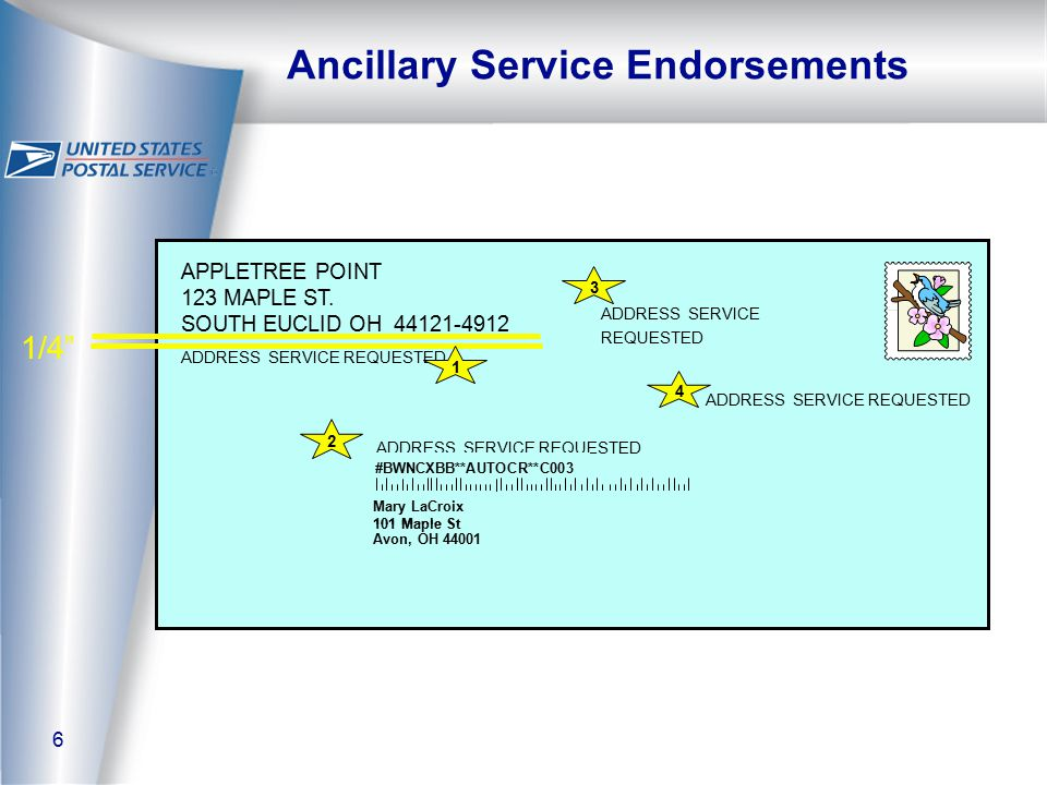 6 Ancillary Service Endorsements ADDRESS SERVICE REQUESTED APPLETREE POINT 123 MAPLE ST.