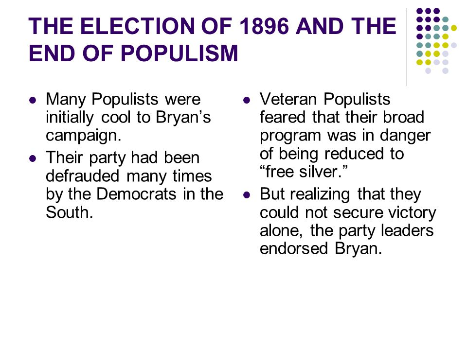 Many Populists were initially cool to Bryan's campaign. Their party had been defrauded many times by the Democrats in the South. Veteran Populists fea