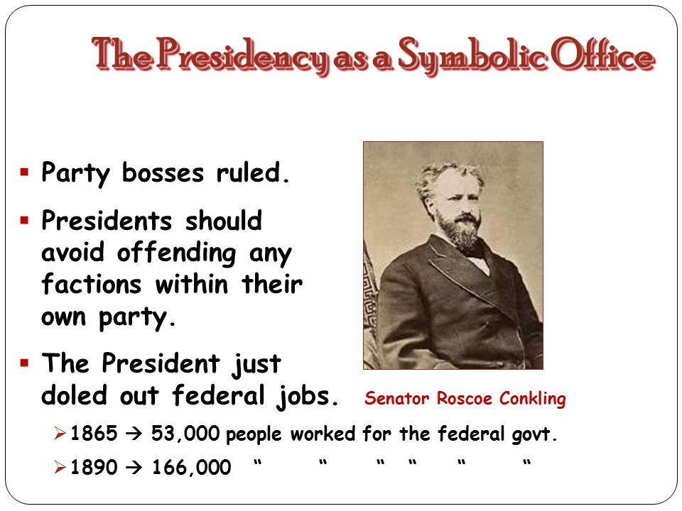 PRESIDENCY: NOMINATED BY PARTY BOSSES FOR PURELY POLITICAL REASONS (swing states) these men let Congress be in charge