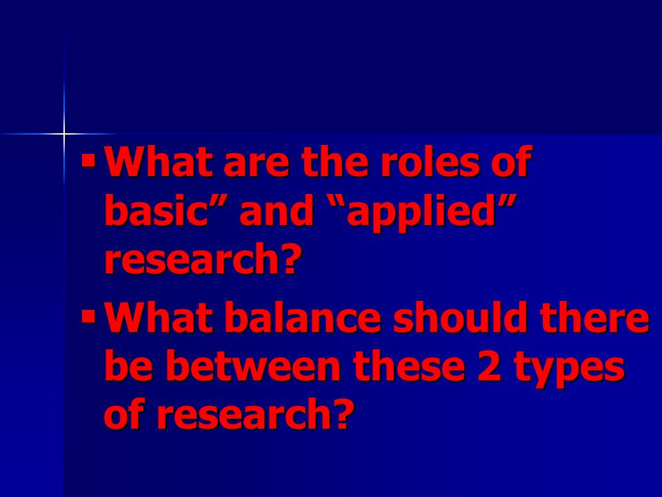  What are the roles of basic and applied research.