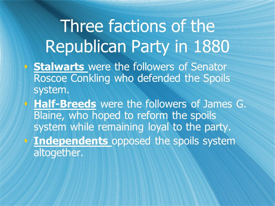 Three factions of the Republican Party in 1880  Stalwarts were the followers of Senator Roscoe Conkling who defended the Spoils system.