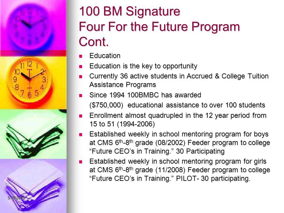 5/10/2015 100 BM Signature Four For the Future Program Cont.
