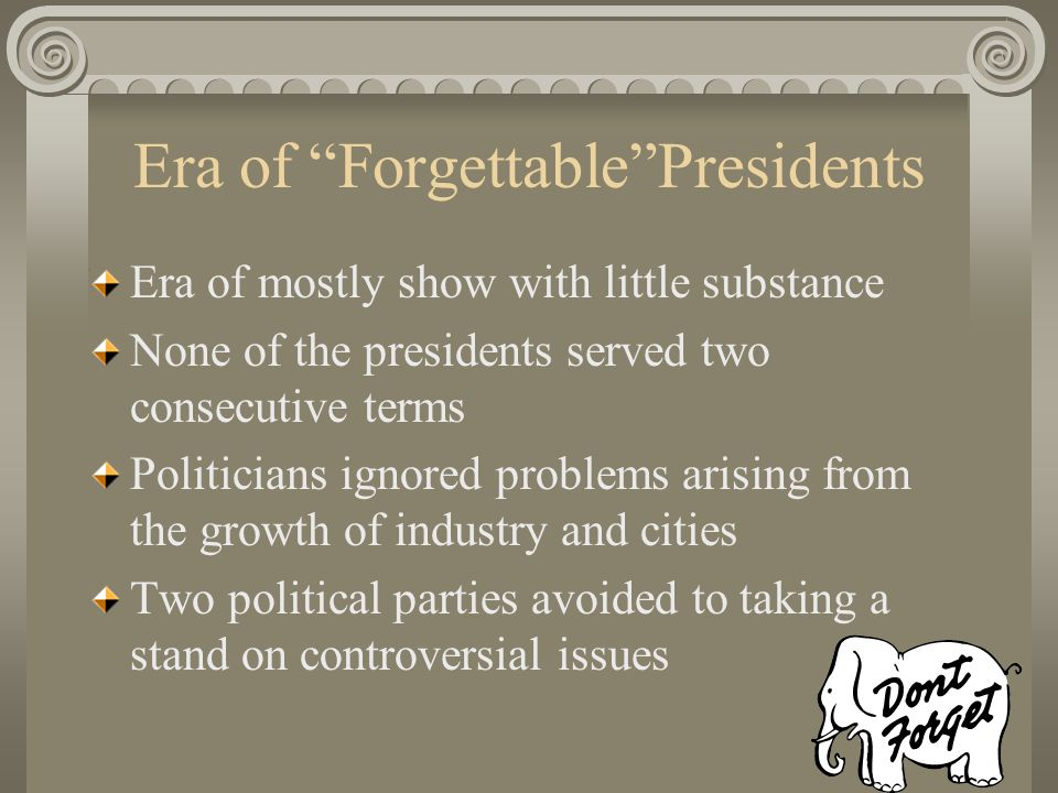 Stalemate Political ideology of the time Campaign tactics Party patronage
