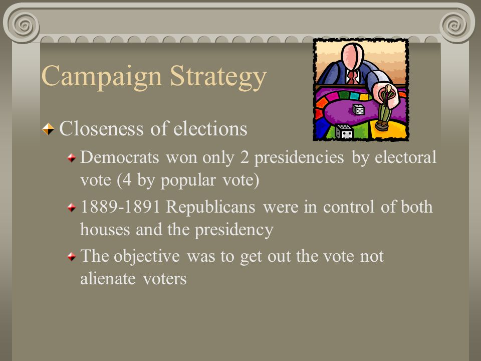 Campaigns Characterized by big brass bands, flags, buttons, picnics, free beer, and speeches 80% of the eligible voters voted – higher than elections in the 20 th or 21 st century