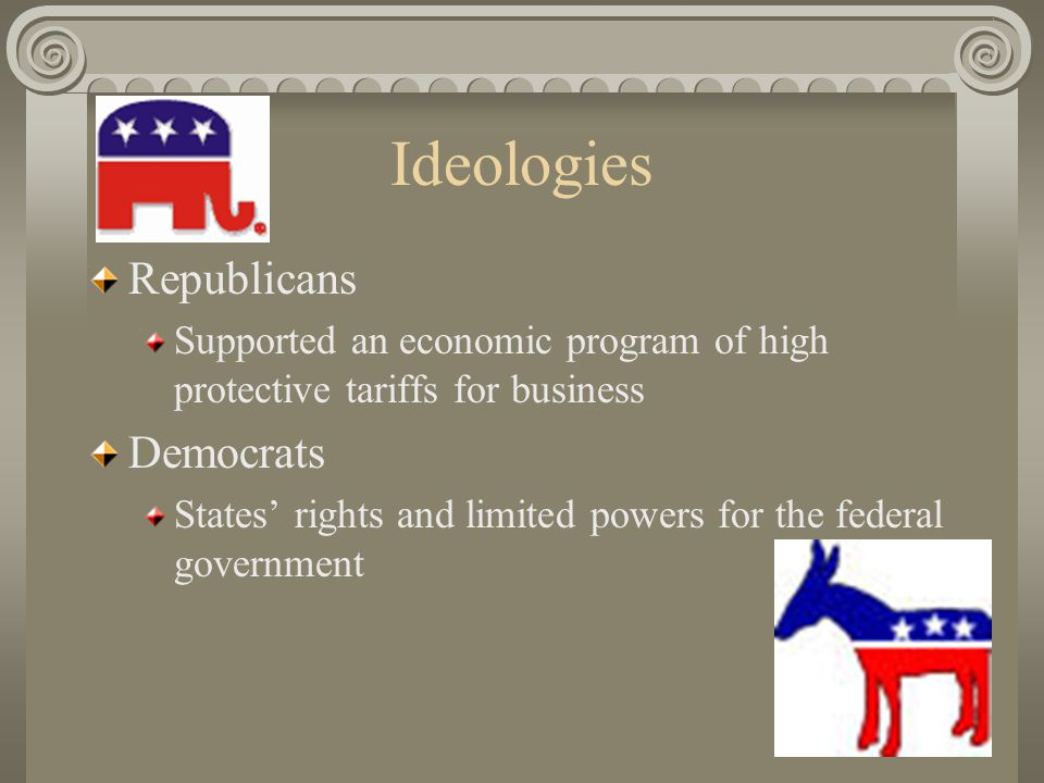 Ideologies Republicans Supported an economic program of high protective tariffs for business Democrats States' rights and limited powers for the federal government