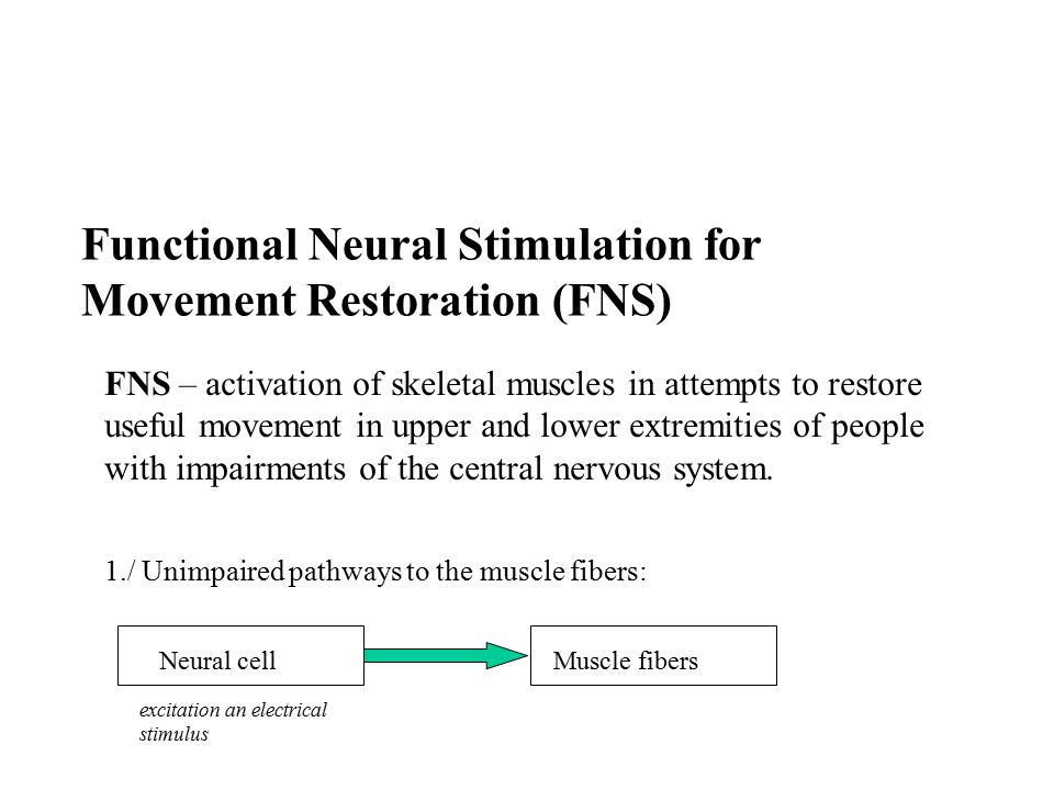 Description of the FNS signal The current of the FNS depends on the proximity of the electrodes to the target muscle tissue.