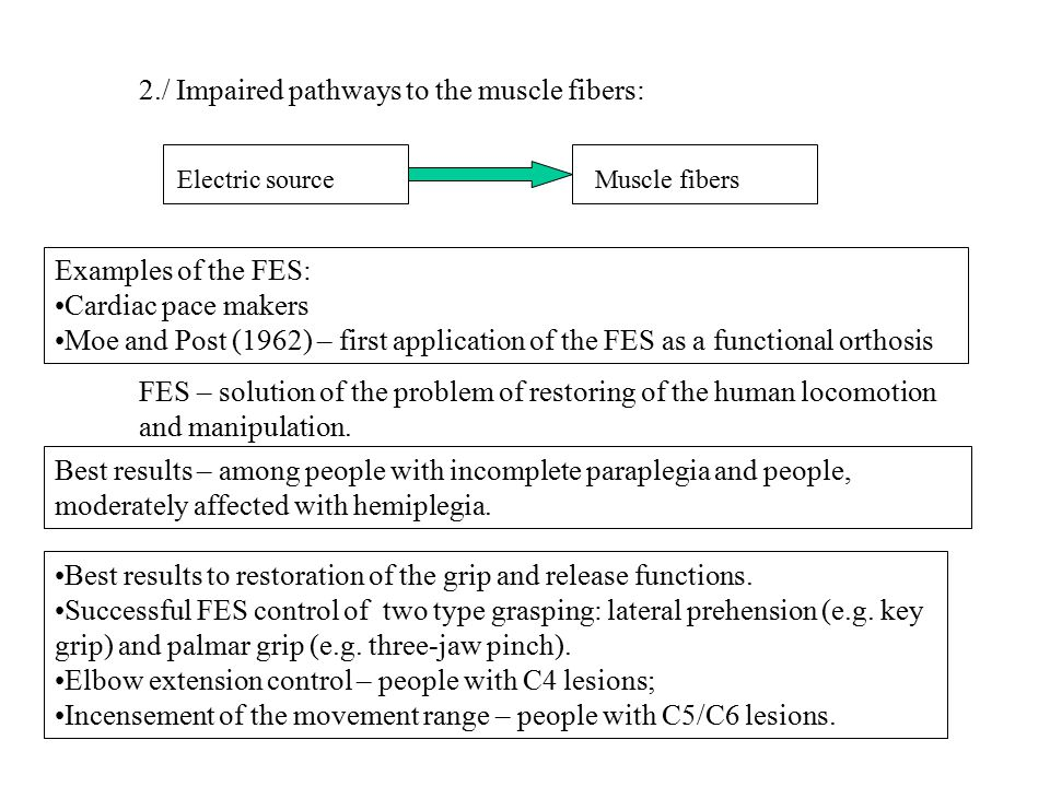 Three techniques for FES: 1.Surface stimulators - electrodes, placed on the skin surface over the muscle or nerve to be stimulated (transcutaneous electrodes); 2.Percutaneous stimulators – permanently implanted electrodes with wires chronically penetrating the skin which connect to to an external pulse generator (intramuscular electrodes or percutaneous electrodes); 3.Implantable stimulators – 1.