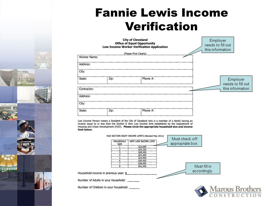 Fannie Lewis Income Verification Employer needs to fill out this information Must check off appropriate box.