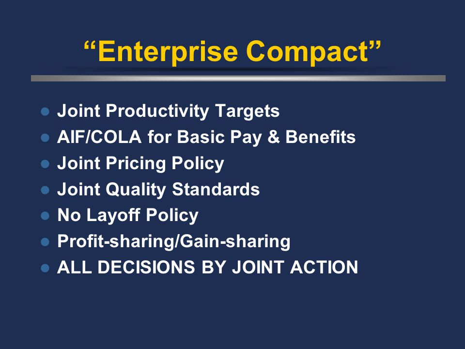 Enterprise Compact Joint Productivity Targets AIF/COLA for Basic Pay & Benefits Joint Pricing Policy Joint Quality Standards No Layoff Policy Profit-sharing/Gain-sharing ALL DECISIONS BY JOINT ACTION