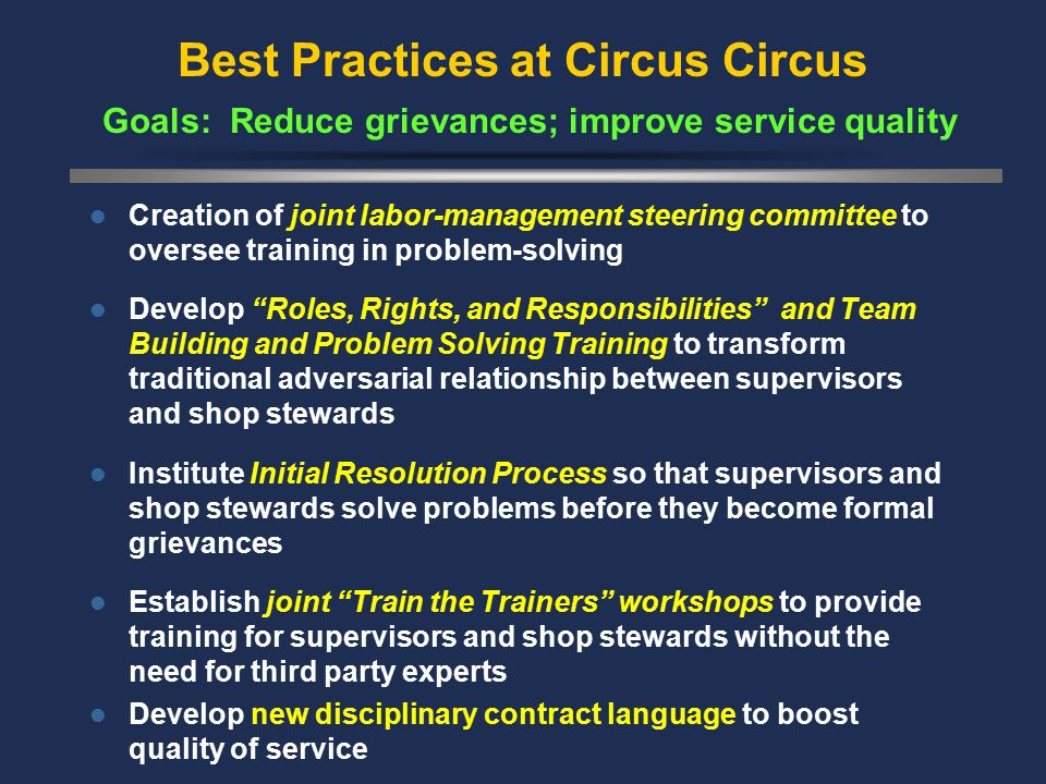 Best Practices at Circus Circus Goals: Reduce grievances; improve service quality Creation of joint labor-management steering committee to oversee training in problem-solving Develop Roles, Rights, and Responsibilities and Team Building and Problem Solving Training to transform traditional adversarial relationship between supervisors and shop stewards Institute Initial Resolution Process so that supervisors and shop stewards solve problems before they become formal grievances Establish joint Train the Trainers workshops to provide training for supervisors and shop stewards without the need for third party experts Develop new disciplinary contract language to boost quality of service