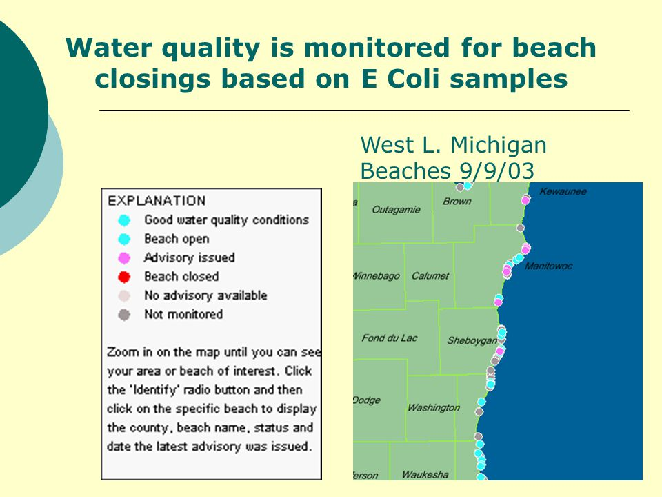 Water quality is monitored for beach closings based on E Coli samples West L.