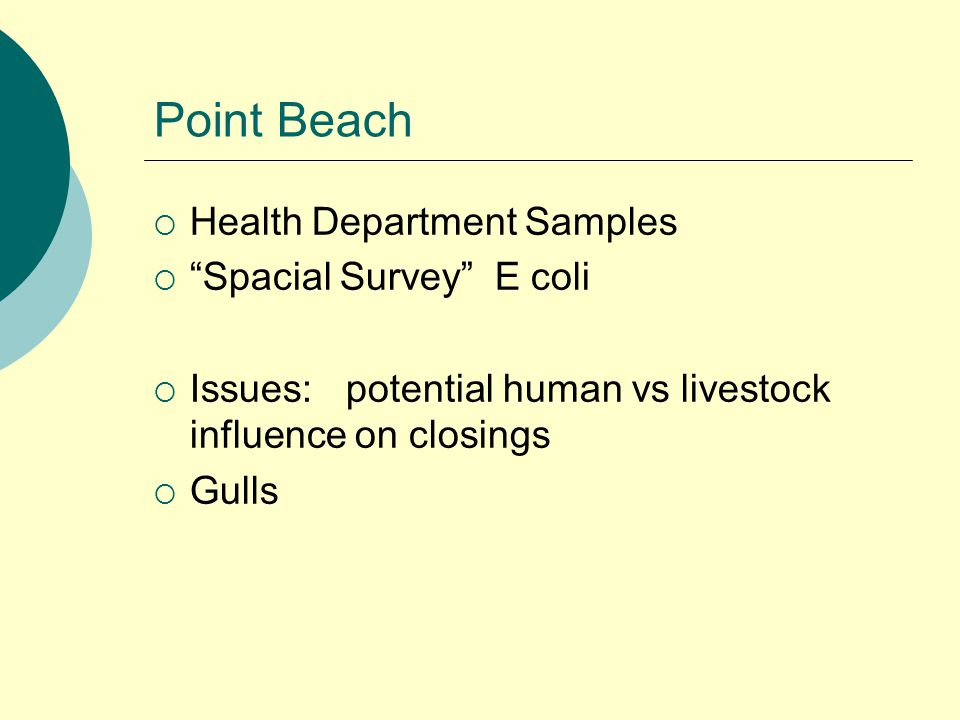 Point Beach  Health Department Samples  Spacial Survey E coli  Issues:potential human vs livestock influence on closings  Gulls